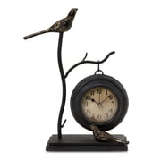IMAX Bird & Branch with Hanging Clock in Black with Gold Leaf