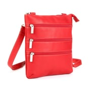 Le Donne Leather Triple Zip Cross Body Bag; Red