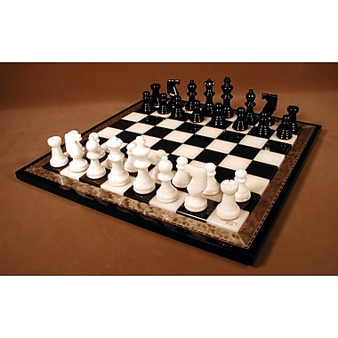 Scali Alabaster Wood Frame Chess Set in Black / White
