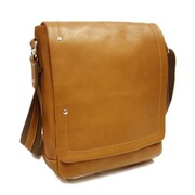 Piel Messenger Bag; Saddle