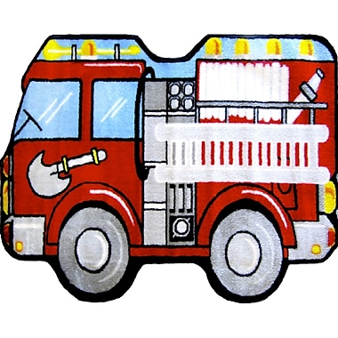 Fun Rugs Fun Shape High Pile Fire Truck Area Rug; Novelty 2'7'' x 3'11''