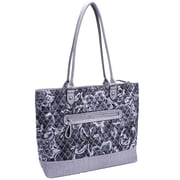 Parinda Allie Quilted Fabric with Croco Faux Leather Tote Bag; Grey Floral