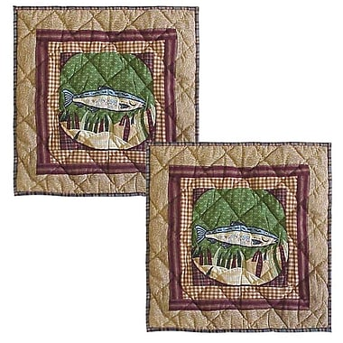 Patch Magic Gone Fishing Cotton Throw Pillow (Set of 2)