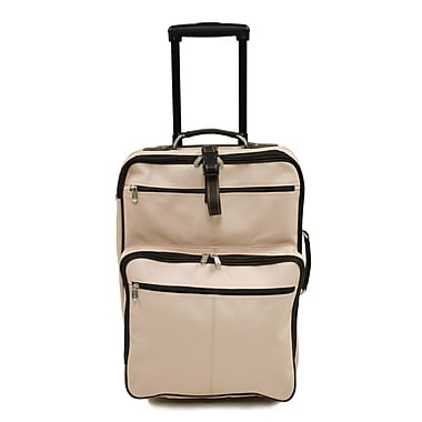 Piel Pastel Leather 22'' Wheeled Traveler Suitcase; Pastel Purple w/ Chocolate Trim