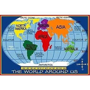 Fun Rugs Supreme Kids World Map Classroom Blue Area Rug; 5'3'' x 7'6''