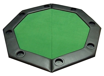 JP Commerce Padded Octagon Folding Poker Table Top w/ Cup Holders in Green WYF078276031915
