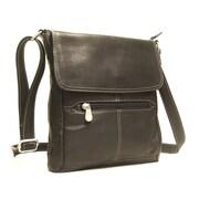 Le Donne Leather Front Flap Cross Body Bag; Black