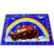 Kids World Animals in the Ark Blue Area Rug; 6'6'' x 8'4''