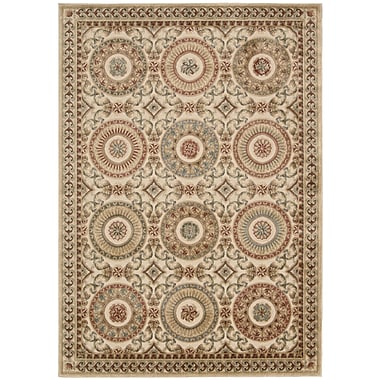 Kathy Ireland Home Gallery Villa Retreat Celestial Elegance Cream Area Rug; 5'3'' x 7'5''