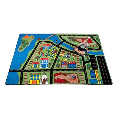 Kid Carpet Total Transportation Play Town Area Rug; 4' x 6'
