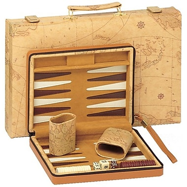 Wood Expressions Map Backgammon in Tan