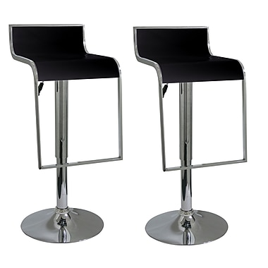 Buffalo Tools AmeriHome 21.5'' Adjustable Swivel Bar Stool (Set of 2); Black