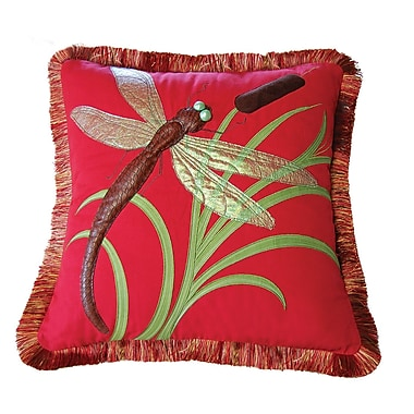 Rightside Design I Sea Life Dragonflies and Cattails Cotton Throw Pillow; Tomato