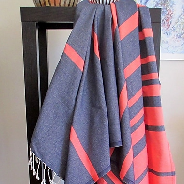 Scents and Feel Striped Fouta Towel; Navy / Orange