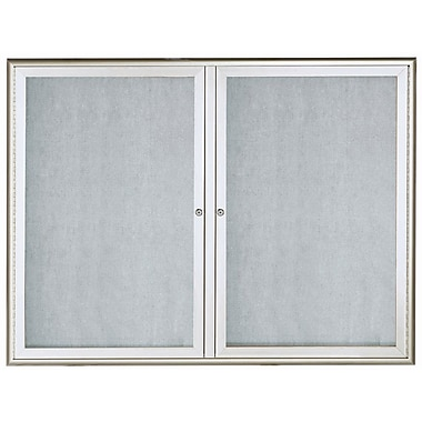 AARCO LED Lighted Enclosed Bulletin Board; Silver