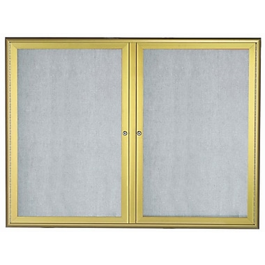 AARCO LED Lighted Enclosed Bulletin Board; Gold