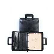 Scully Lizard Leather Zip Binder With Drop Handles in Black