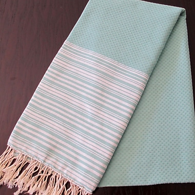 Scents and Feel Honey Comb Fouta Towel; Aqua / White