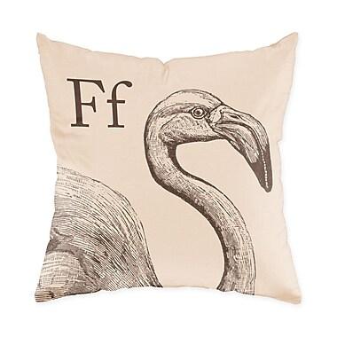Checkerboard Flamingo Throw Pillow; Sand