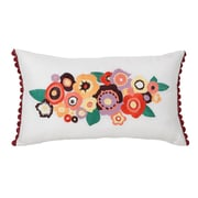 Collier Campbell Grandiflora Floral Embroidered Decorative Lumbar Pillow