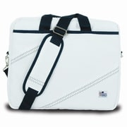 SailorBags Messenger Bag; White with Blue Trim