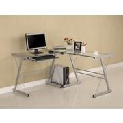 Home Loft Concept Corner Computer Desk; Silver / Clear Glass
