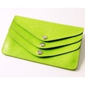 Budd Leather On the Go Pebble Grain 3 Flap Wallet; Lime