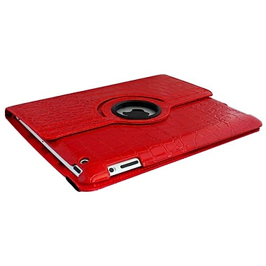 Bargain Tablet Parts Ipad 2 and Ipad 3 Crocodile Rotating Case; Red