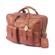 Claire Chase Platinum Leather Laptop Briefcase; Saddle