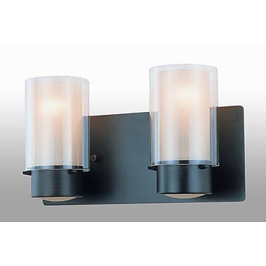 DVI Essex 2 Light Vanity Light; Oil Rubbed Bronze with Butterscotch Glass Shade