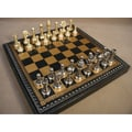Ital Fama Staunton Metal on Leather Chest Chess Set