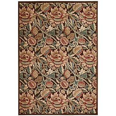 Nourison Graphic Illusions Brown Floral Area Rug; Runner 2'3'' x 8'