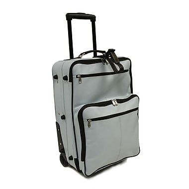 Piel Pastel Leather 22'' Wheeled Traveler Suitcase; Pastel Blue w/ Chocolate Trim