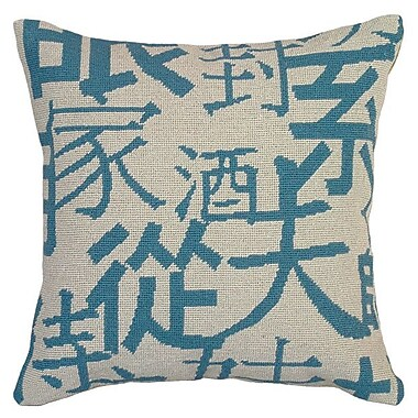 123 Creations Graphic Chinese Characters Needlepoint Wool Throw Pillow; Blue
