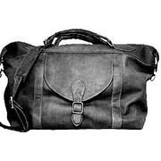 David King 25'' Leather Top Zip Travel Duffel Bag; Black