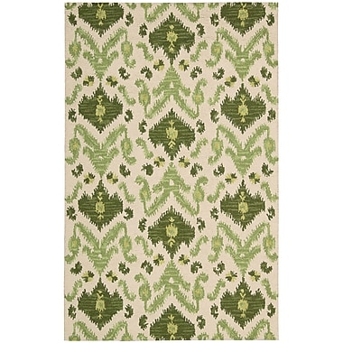 Nourison Siam Ivory/Green Area Rug; 5'6'' x 7'5''