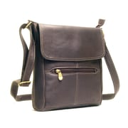 Le Donne Leather Front Flap Cross Body Bag; Caf