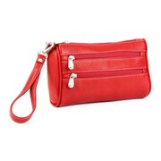 Le Donne Leather Two Zip Clutch  Wristlet Bag; Red