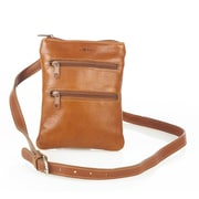 Aston Leather Women's Two Front Pocket Shoulder Bag; Black