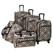 American Flyer Silver Clover 5 Piece Spinner Luggage Set; Black Grey