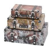 Woodland Imports Library Storage Books Wood Canvas Case (Set of 3)