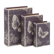 Woodland Imports Paris Butterfly Theme Book Box (Set of 3)