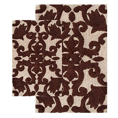Chesapeake Iron Gate 2 Piece Bath Rug Set; Linen / Chocolate