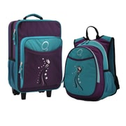 Obersee 2 Piece Turquoise Butterfly Kids Luggage and Backpack Set