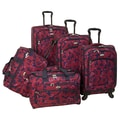 American Flyer Red Rose 5 Piece Spinner Luggage Set
