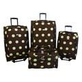 American Flyer Grande Dots 4 Piece Luggage Set; Green