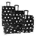 American Flyer Grande Dots 4 Piece Luggage Set; Black