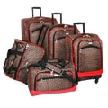 American Flyer Animal Print 5 Piece Spinner Luggage Set; Leopard Red
