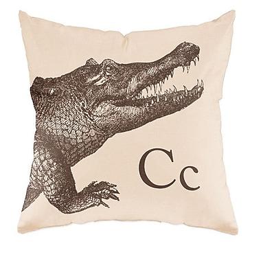 Checkerboard Crocodile Throw Pillow; Sand