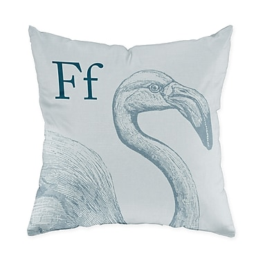 Checkerboard Flamingo Throw Pillow; Blue Grey